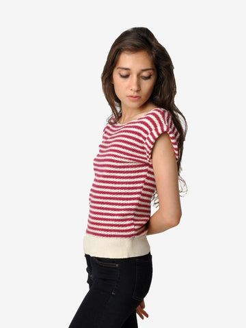 Vintage Striped Cotton Knit Top