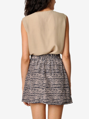 Vintage Graphic Pleated Mini Skirt