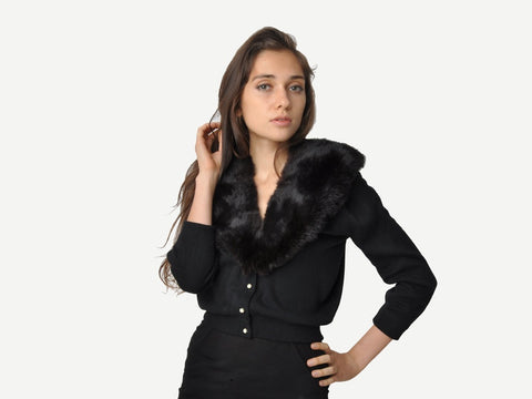 Vintage Black Cardigan With Mink Fur Collar