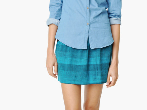 Vintage Blue Plaid Micro Mini Skirt