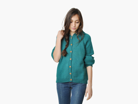 Vintage Teal Wood Button Cardigan Sweater
