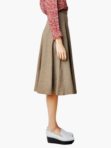Vintage Brown Wool Twill Circle Skirt