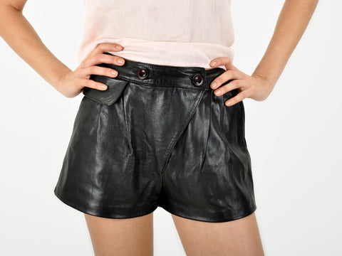 Vintage Triangle front leather shorts