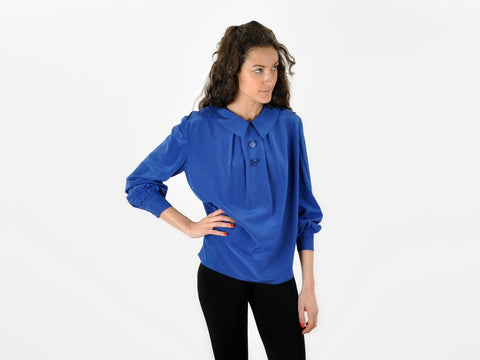 Vintage Valentino Blue Collared Blouse