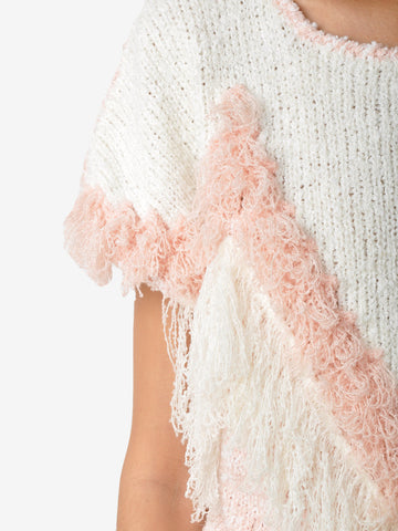 Vintage Pink And White Fringe Crochet Top