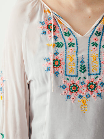 Vintage Blush Embroidered Blouse