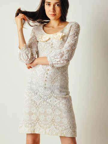Vintage White Mod Lace Dress