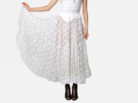 White Lace Tiered Petticoat Skirt