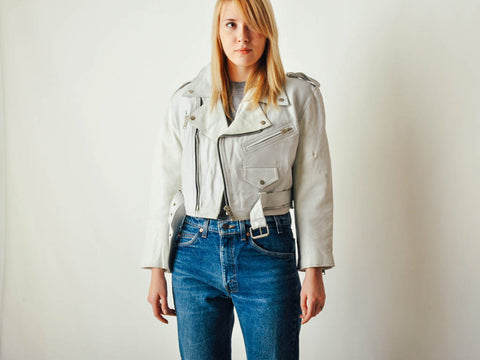 Vintage White Leather Moto Jacket