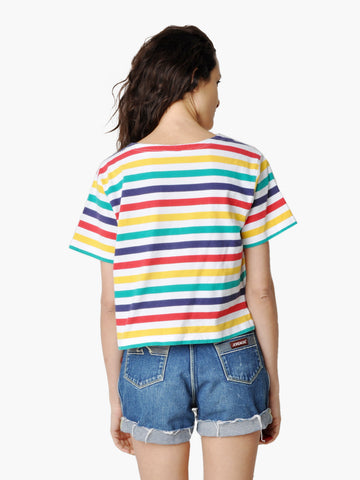 Vintage Bright Striped Crop Top