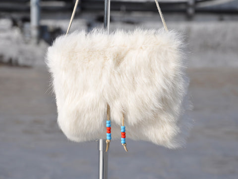 Vintage Small White Fur Purse