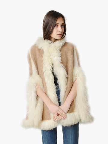 Vintage Wool and Sheep Fur Structured Cape