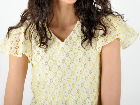 Vintage Yellow and White Eyelet Top