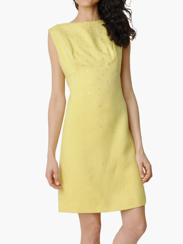 Vintage Yellow Linen Rhinestone Encrusted Dress
