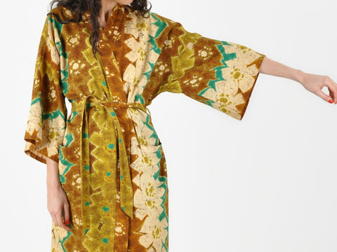 Vintage Abstract Floral Print Robe