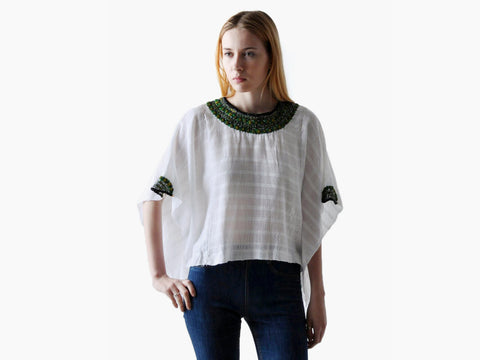 Vintage 70s Draped White Boho Top