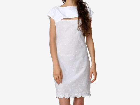 White Peek-A-Boo Slit Dress