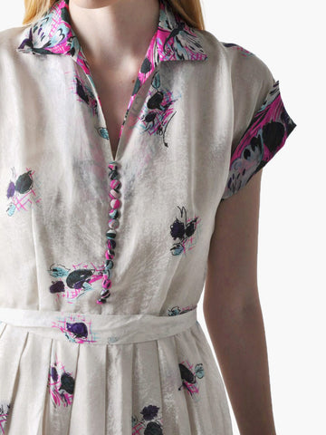 Vintage Butterfly Silk Shirtwaist Dress