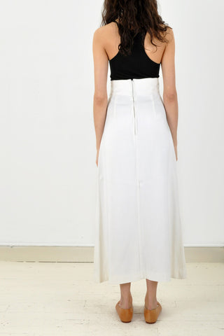 Vintage long white maxi skirt with a lace up CORSET FRONT