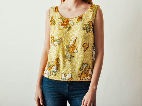 Vintage Yellow Sequined Abstract Top