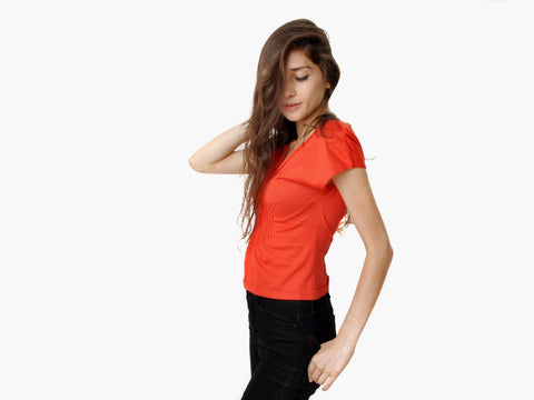 Yves Saint Laurent Red Pleated Top