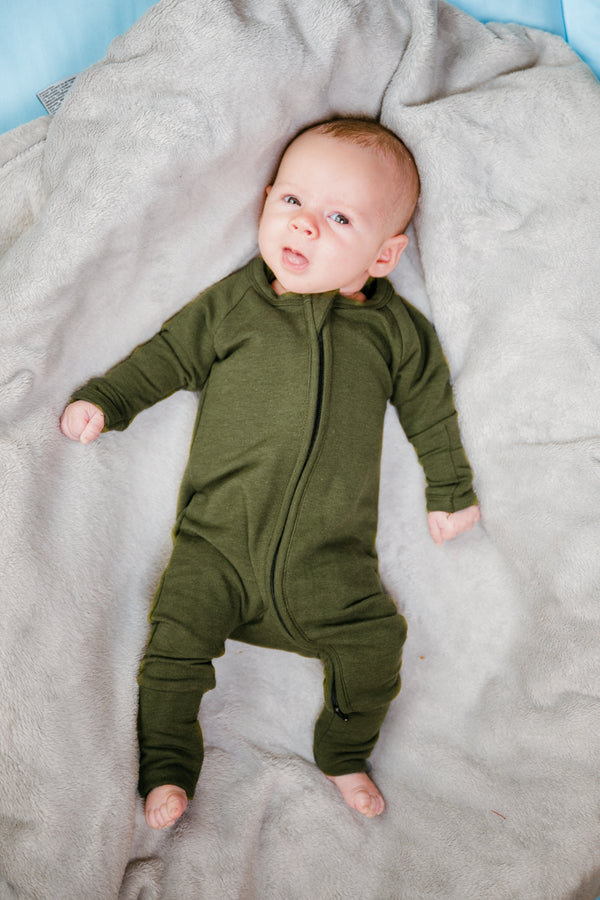 Two Way Zipper Baby Onesie - Moss Green