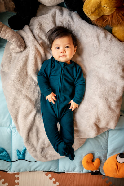 Two Way Zipper Baby Onesie - Moroccan Blue