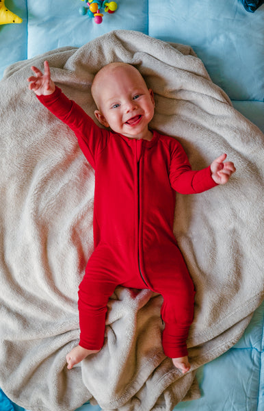 Two Way Zipper Baby Onesie - Chili Red