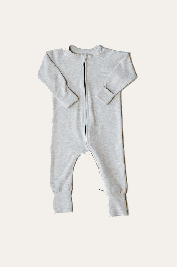 Two Way Zipper Baby Onesie - Light Grey