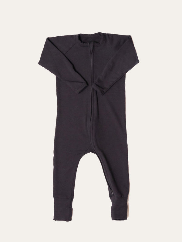 Two Way Zipper Baby Onesie - Black