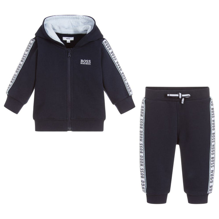 (HUGO BOSS) Boys Blue Jersey Tracksuit
