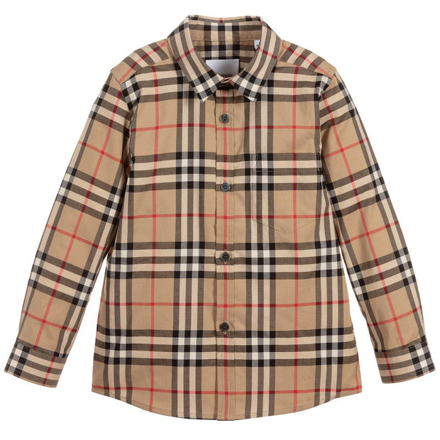 Burberry - Boys Beige Check Shirt