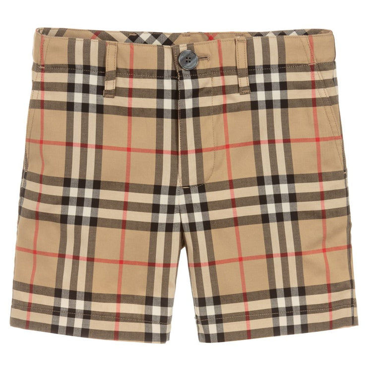 Burberry - Boys Beige Check Shorts - My Billionaire Baby