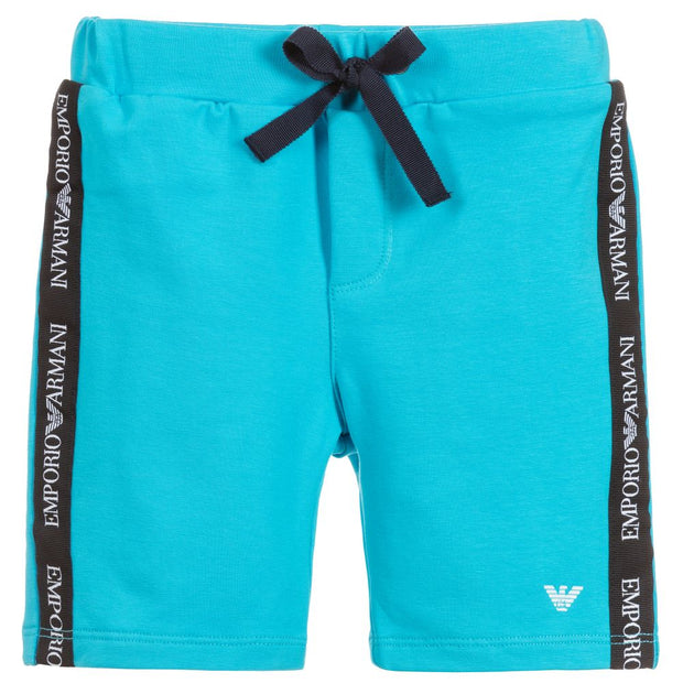 (Emporio) Armani Boys Blue Cotton Jersey Shorts - My Billionaire Baby