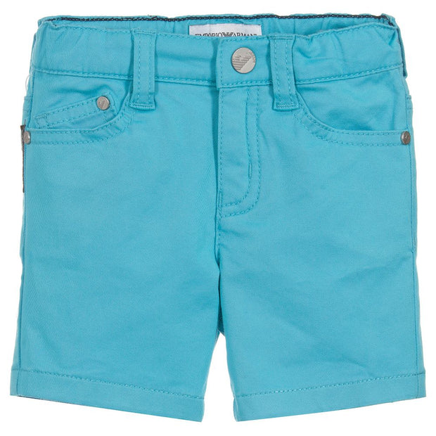 (Emporio) Armani Boys Turquoise Cotton Shorts - My Billionaire Baby