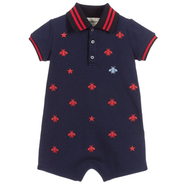 (Gucci) Baby Boys Blue Piqué Shortie - My Billionaire Baby