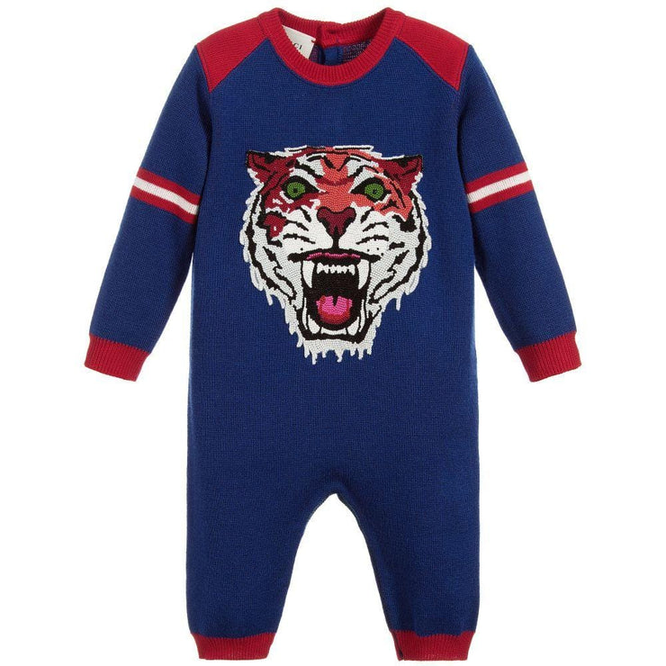 (Gucci) Boys Blue Wool Tiger Babygrow - My Billionaire Baby