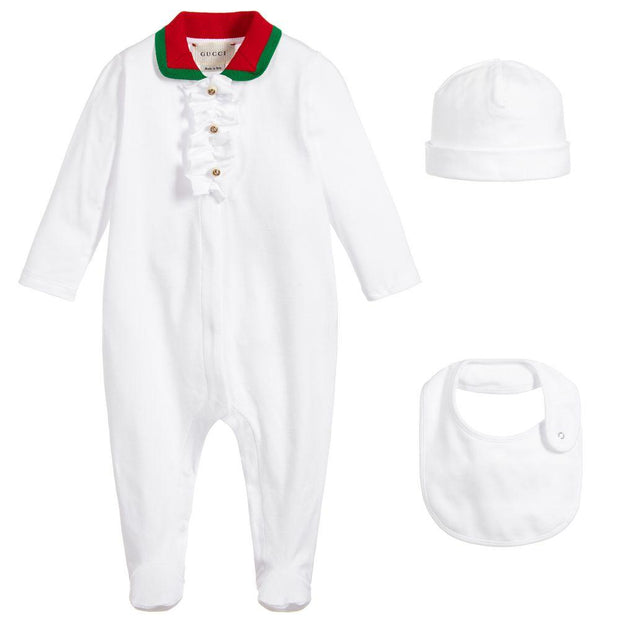 (Gucci) White Cotton Babygrow Set - My Billionaire Baby