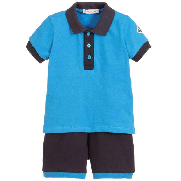 (Moncler) Enfant Blue Cotton Piqué Shorts Set - My Billionaire Baby