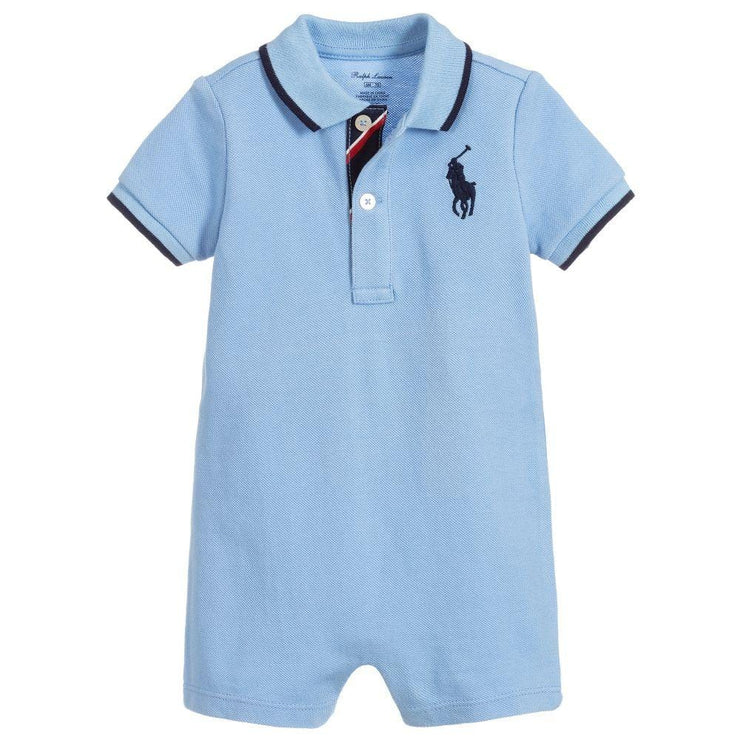 (Ralph Lauren) Baby Boys Blue Cotton Shortie - My Billionaire Baby