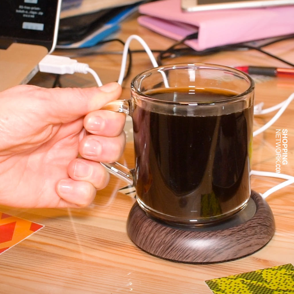 Toasty USB Port Beverage Warmer with Wood Grain Design
