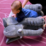 Large Plush Elephant Toy and Sleeping Back Cushion