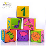 HOT!! 6pcs in 1 Set Cloth Building Blocks New Infant Baby Cloth Doll Soft Rattle early Educational Baby Toy Soft Plush Set Cube