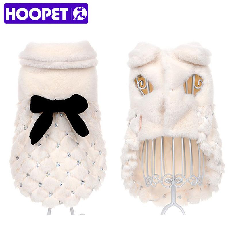 HOOPET Pet Clothes Elegant Luxury Fur Winter Overcoat Small Dog Cat Clothes Bowknot Chihuahua