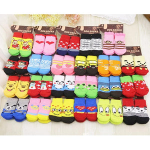 4pcs Warm Puppy Dog Shoes Soft Acrylic Pet Knits Socks Cute Cartoon Anti Slip Skid Socks For Small Dogs Pet Products S/M/L