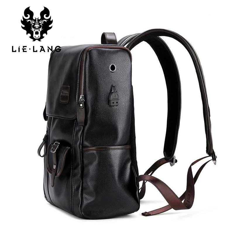 "LIELANG 14"" Men's Leather USB Charging Backpack - Anti Theft"