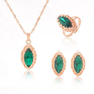 ZOSHI jewelry sets african bridal gold color necklace earrings Ring wedding crystal sieraden women fashion jewellery set