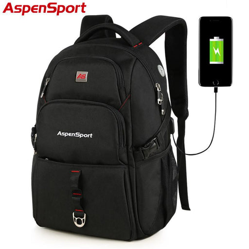 "AspenSport Men's Water Resistant Backpack with USB Charging & Anti-Theft Technology - 17"" Laptop"