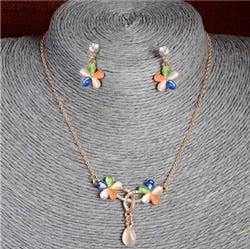 Austrian Crystal Golden Plated Jewerly Sets For Women Cat's Eye Stones Jewelry Set  african necklace earrings jewellery set