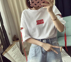 Summer Korean Harajuku Style Hey Alphabet Women T Shirt Personality Hole Ribbon Half Sleeve Student Tops Fashion Tees ZO9